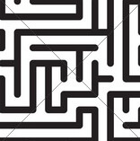Black-and-white Abstract Background With Complex Maze. Seamless Pattern. Vector Illustration.