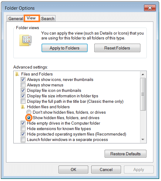 Windows Explorer - folder_options - Hidden