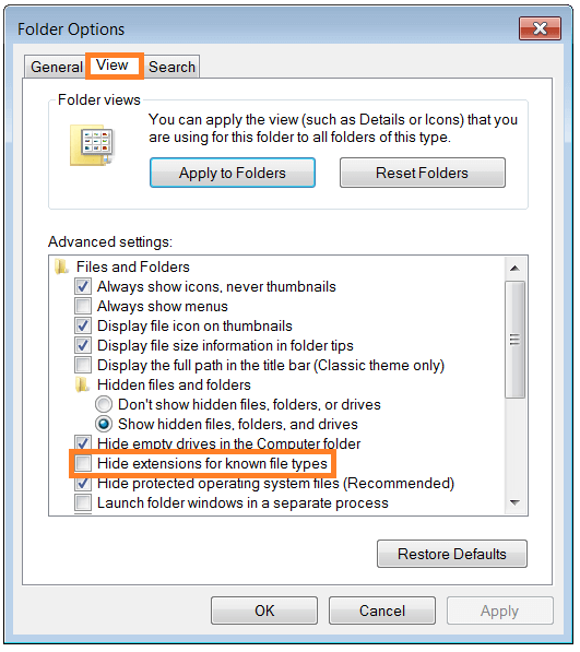 Windows Explorer - folder_options - View