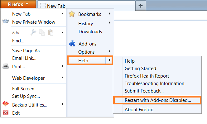 Firefox - Help - Restart with add-ons Disabled... - WindowsWally