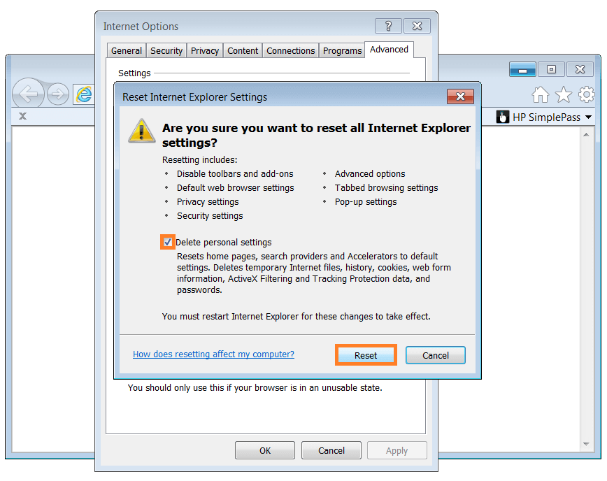 Internet Explorer - Internet-Options - Reset Internet Explorer Settings - WindowsWally