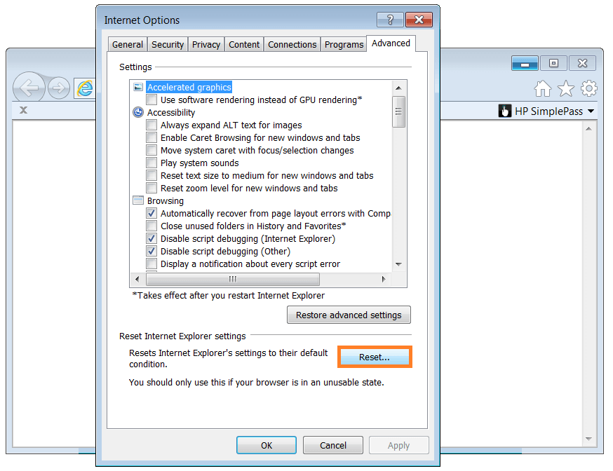 Internet Explorer - Internet-Options - Reset - WindowsWally