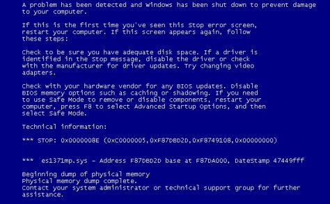 Microsoft Windows - Blue Screen of Death - BSoD -- WindowsWally
