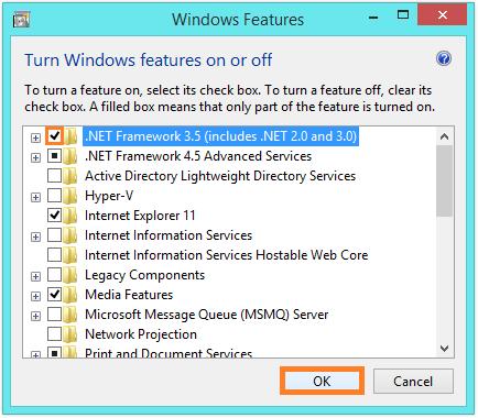 .NET Framework 3.5 in Windows 8 -Turn Windows features on or off 2 -- Windows Wally