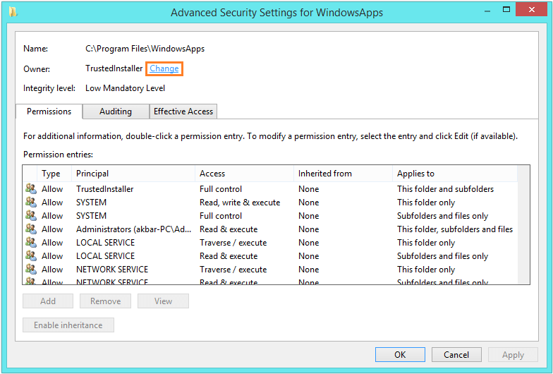 Remove Ads -- Properties - Security - Advanced 3 - Windows Wally