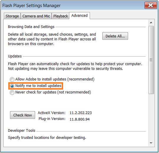 Software Updates - Adobe Flash - control panel - Advanced - change update 2 -- WindowsWally