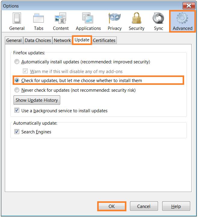 Software Updates - Firefox - Advanced - Update -- WindowsWally