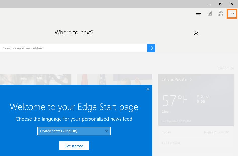 Microsoft Edge - click Settings -- Windows Wally