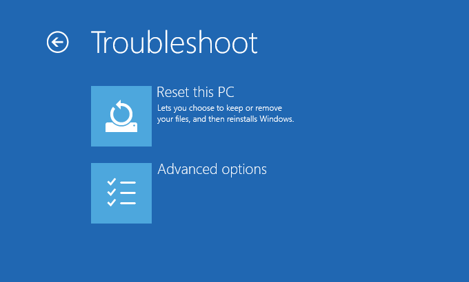 Windows 10 - Windows Recovery Options - Troubleshoot (screen) - Reset this PC -- Windows Wally