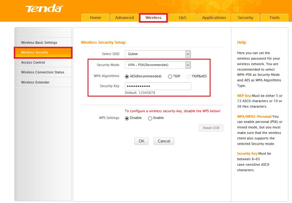 WiFi Password - Tenda - Wifi settings - Windows Wally