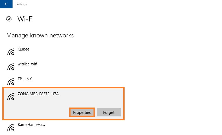 Windows 10 - WiFi - Change Wifi settings - Manage Known Networks - Windows Wally