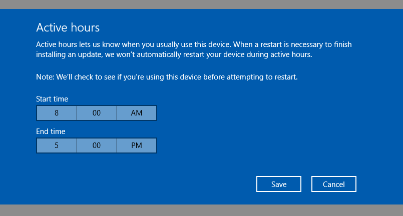 Windows 10 - Windows Update settings - Change Active Hours - 2 - Windows Wally