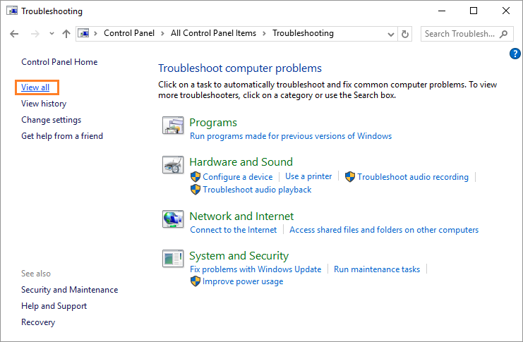 Update Trusted Sites - Control Panel - Search - Troubleshoot - View All - Windows Wally