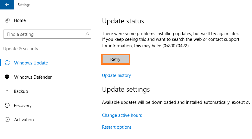 0x80070422 -- Windows 10 AE - Windows Update - 12 - Windows Wally