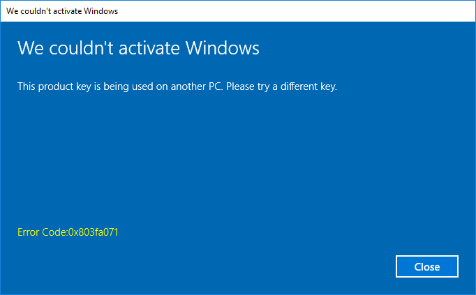 0x803FA071 -- Windows Activate - Cover - Windows 10 - Windows Wally