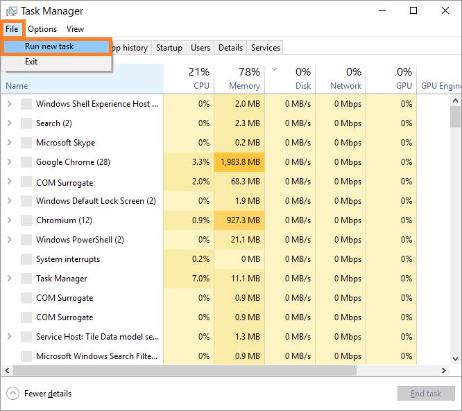 ShellExperienceHost -- Windows 10 - Ctrl+Shift+Esc - Task Manager - Run - Windows Wally