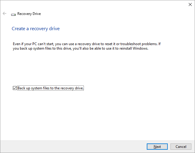 Recovery Drive -- Windows Key - Create a recovery drive - 2 - Windows Wally