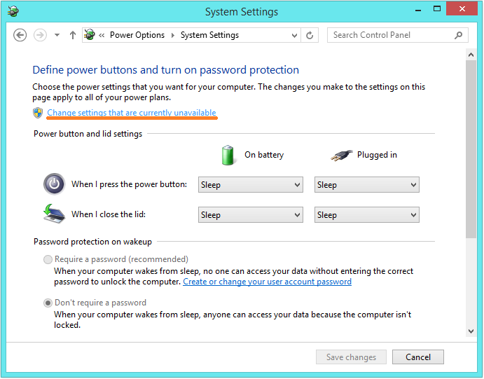 Lagging In Windows 8.1 - Power Options - Change settings that are currently unavailable -- Windows Wally